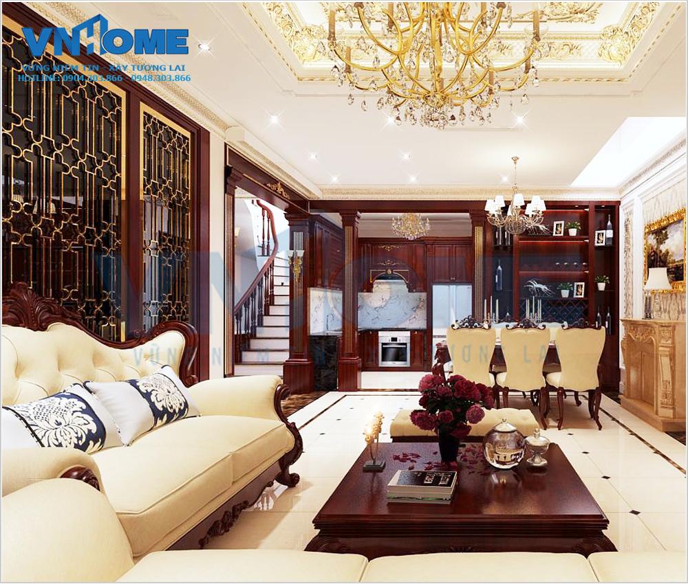 thiết kế nội thất phòng khách tân cổ điển tại Hải Phòng