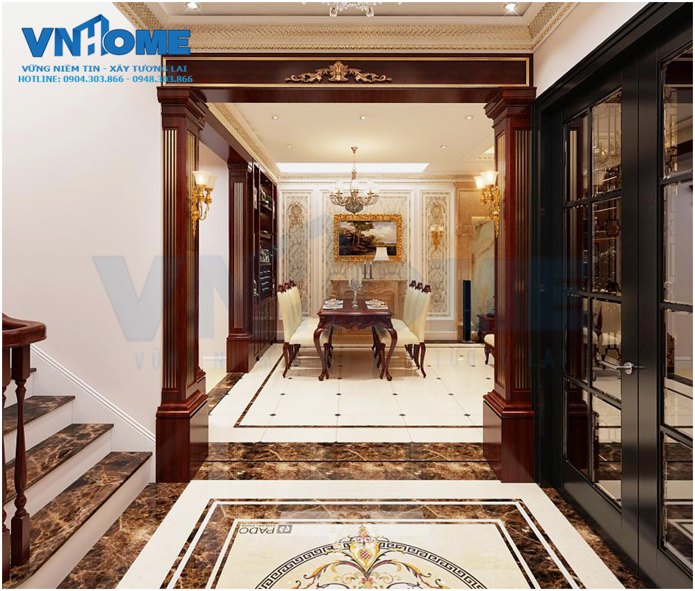Thiết kế sảnh chờ phòng khách cho căn biệt thự tân cổ điển